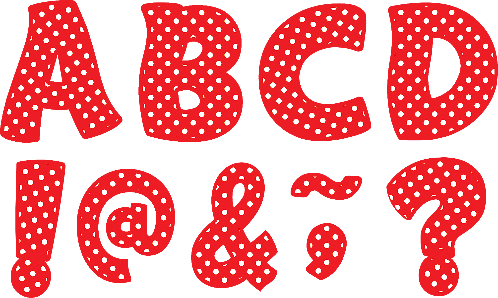 "Transparent polka dot line clipart - Red Polka Dots Funtastic Font 3"" Magnetic Letters - Black Letters With With Dots"