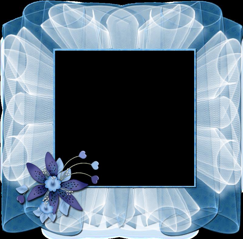 Transparent blue frame clipart - Beautiful Transparent Blue Frame With Flower - Frames Blue Flowers Transparent