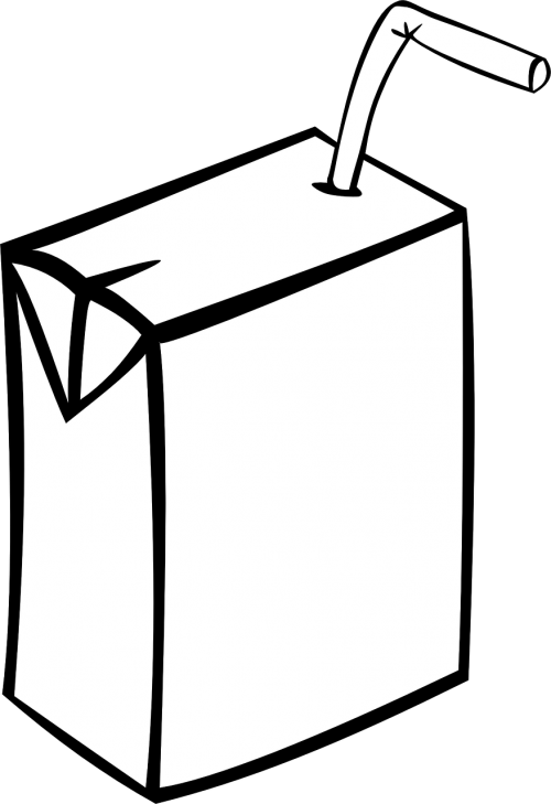 Transparent juice box clipart black and white - Box, Juice, Carton, Plain, Straw, Juice - Juice Clipart Black And White