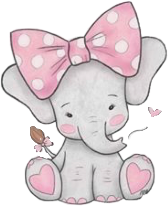 Transparent pink bow clipart - #elephant #pink #grey #gray #cute #baby #bow #hearts - Girl Baby Elephant Clipart