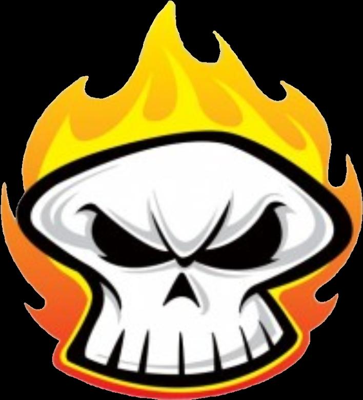 Transparent flaming skull clipart - #skulls #skull #fire #flames - Cartoon Skull On Fire