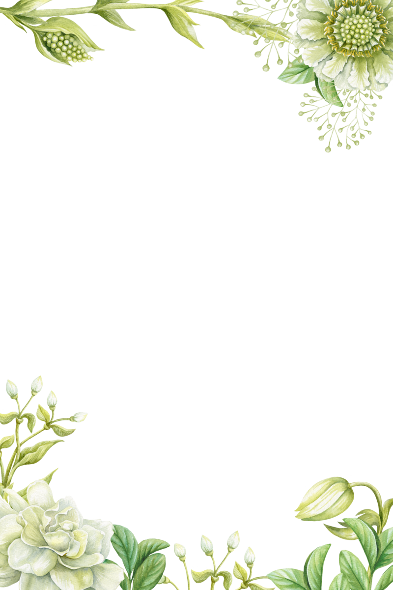 Transparent painted flower clipart - Green Borders Flower Painting Hand Painted Png Download - Green Flower Border Design