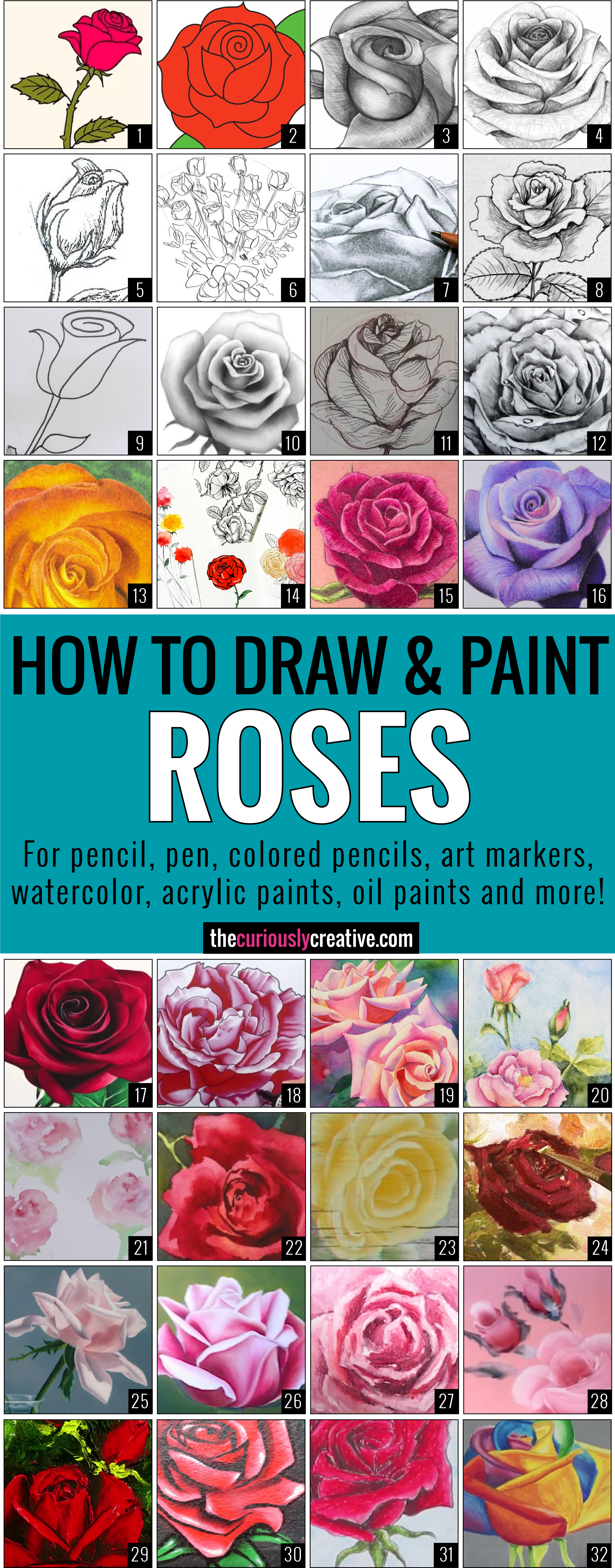 Transparent watercolor roses clipart - The Ultimate List Of Resources And Tutorials For How - Draw A Rose