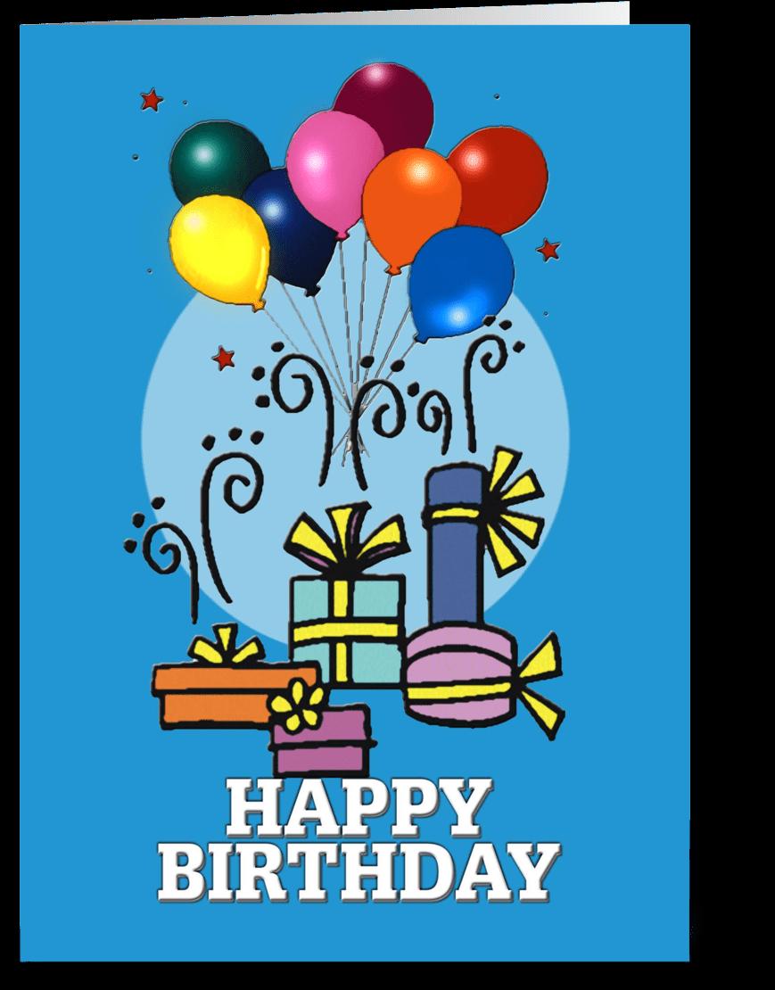 Transparent happy birthday card clipart - Balloons, Happy Birthday Card - Birthday Party