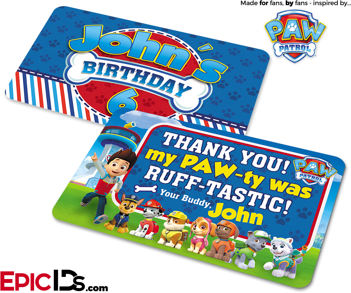 Transparent paw patrol birthday clipart - Paw Patrol Inspired Birthday Party 'party Favor' Cards - Paw Patrol Chase Card