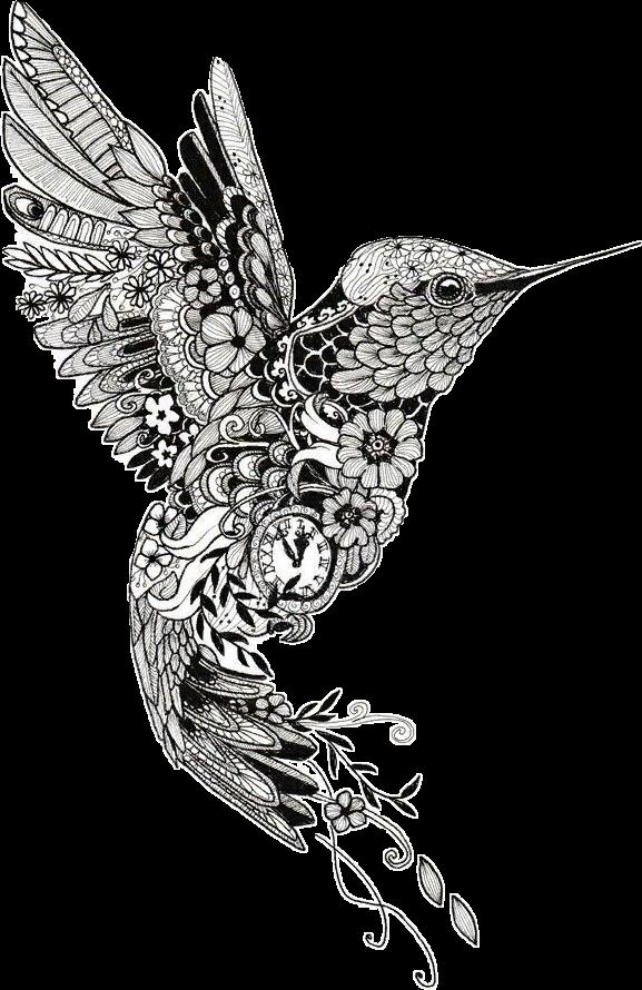 Tattoo Henna Mehndi Mandala Bird Hummingbird Clipart