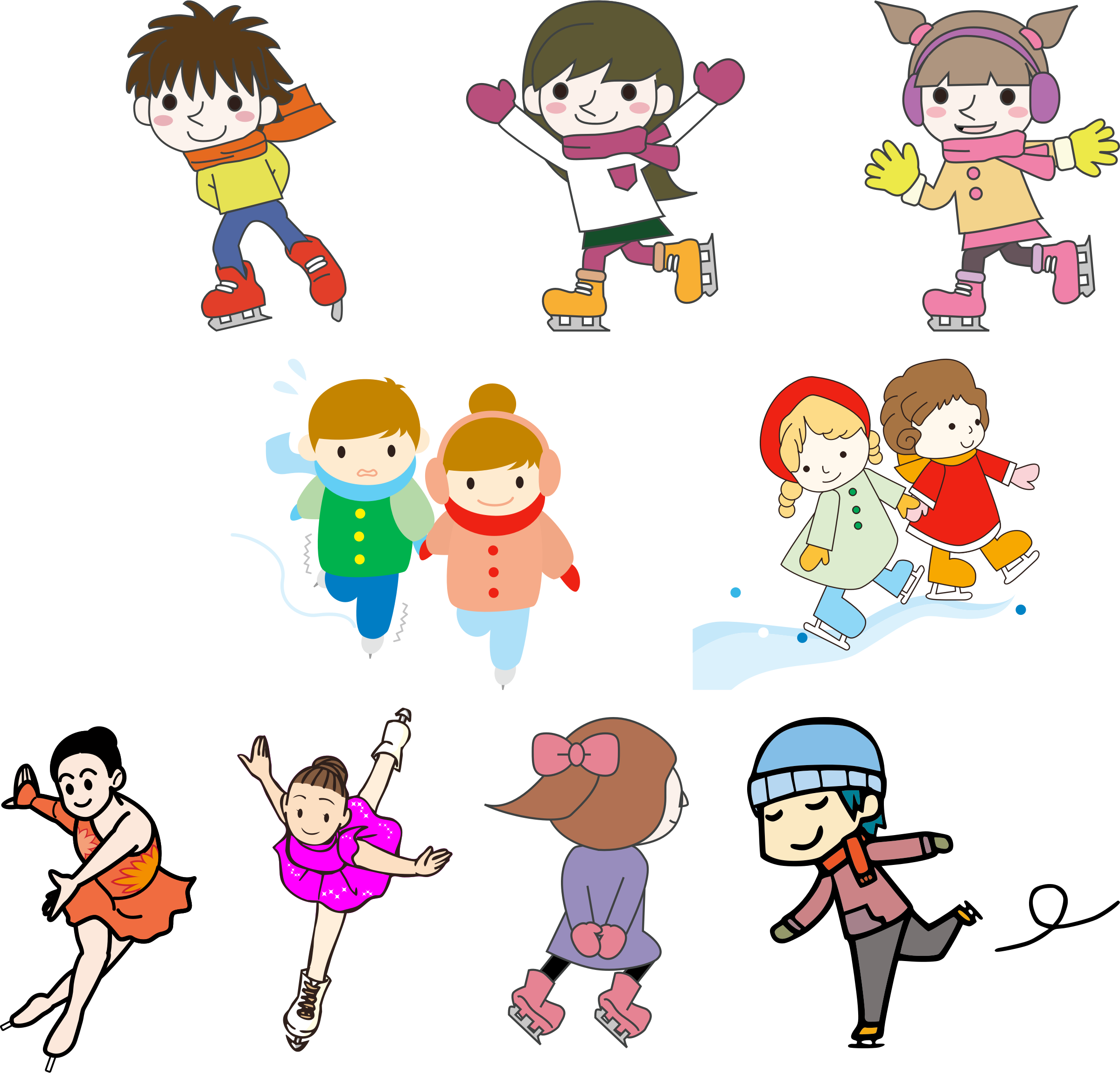 Kids Ice Skating In Nature Royalty Free Cliparts, Vectors, And Stock  Illustration. Image 24080700.