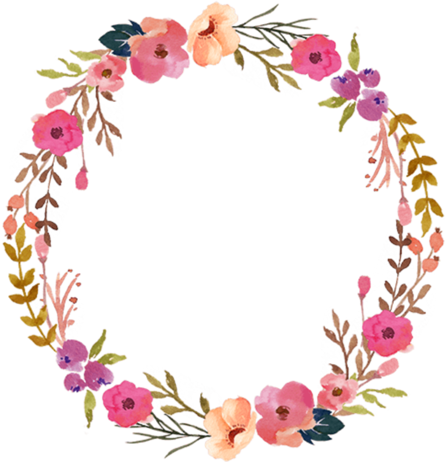 Transparent colorful floral border clipart - Watercolor Wreath Flower Png
