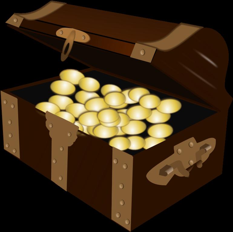 Transparent pirates map clipart - Cartoon Treasure Chest Png Open