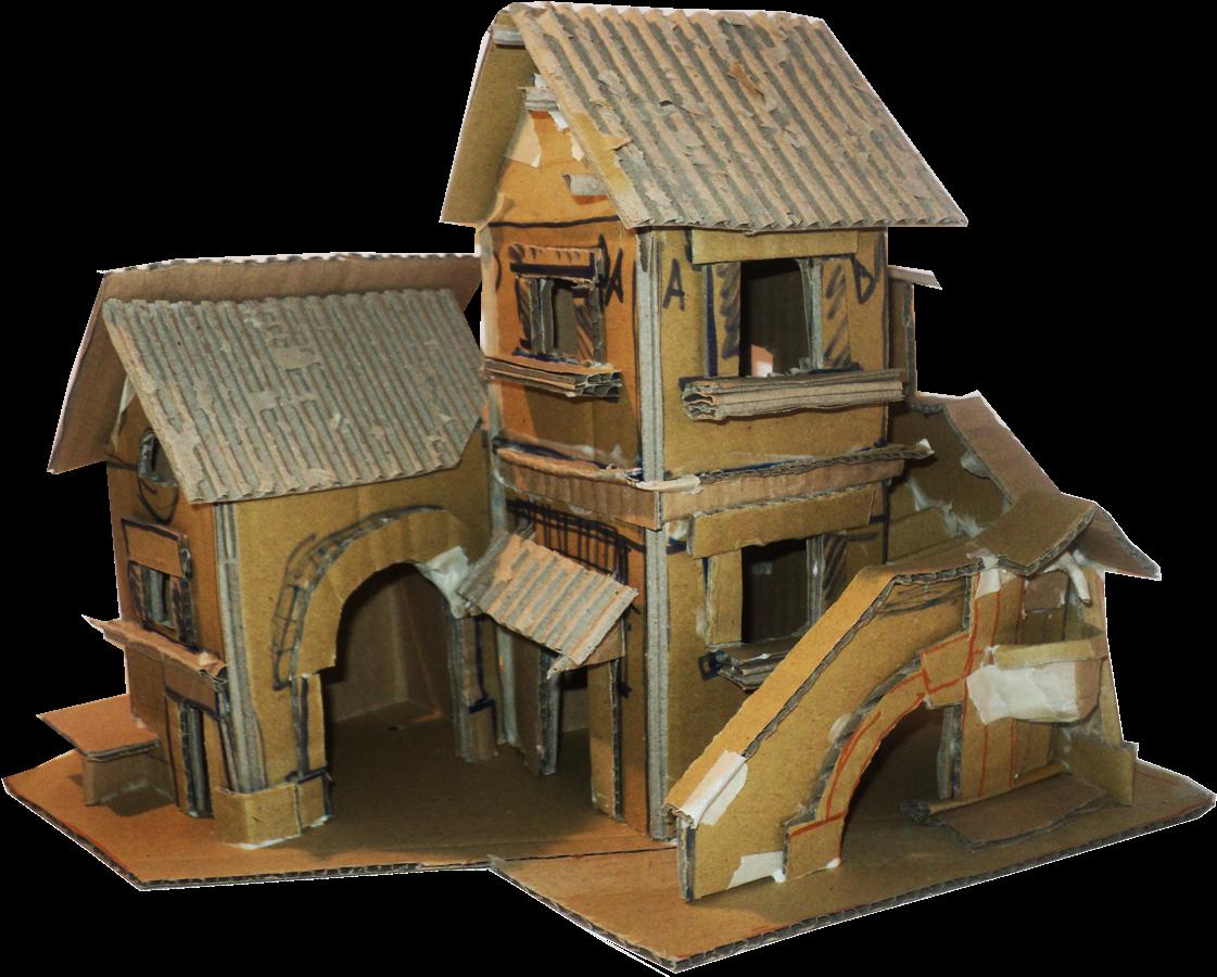 Box House Paper Plan Village Cardboard Clipart Cardboard