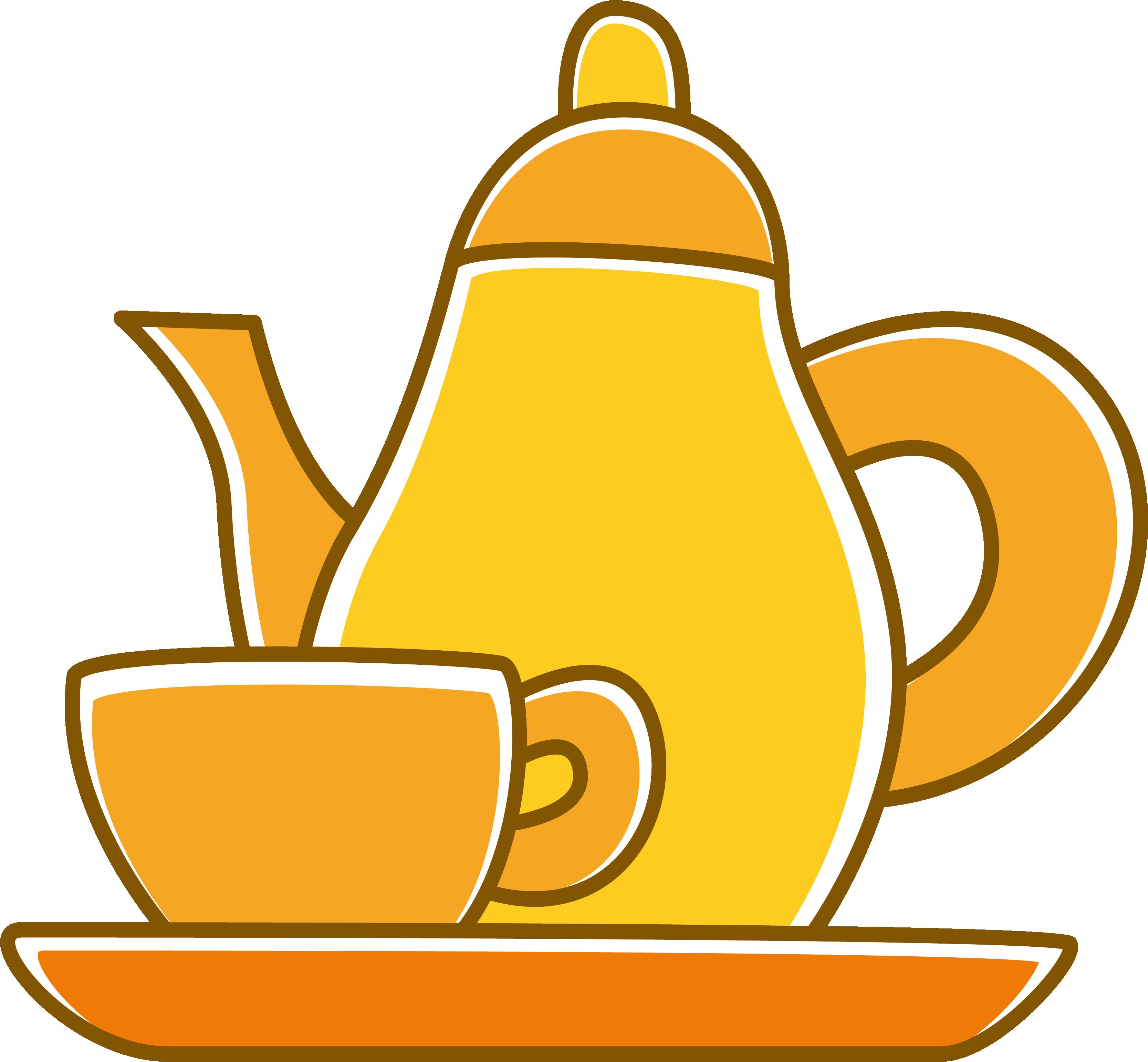 Cups Clipart Teapot Cha De Panela Amarelo Png Transparent