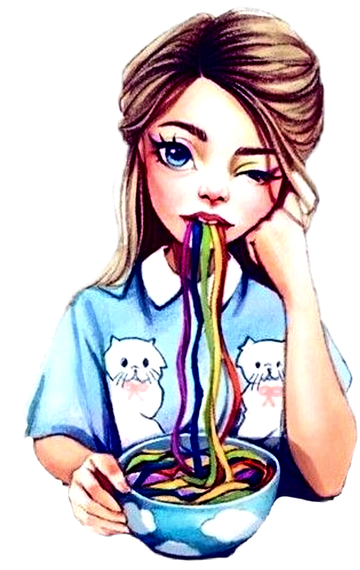 Girl Eating Noodles Colorful Ftestickers Cartoon Drawings Of
