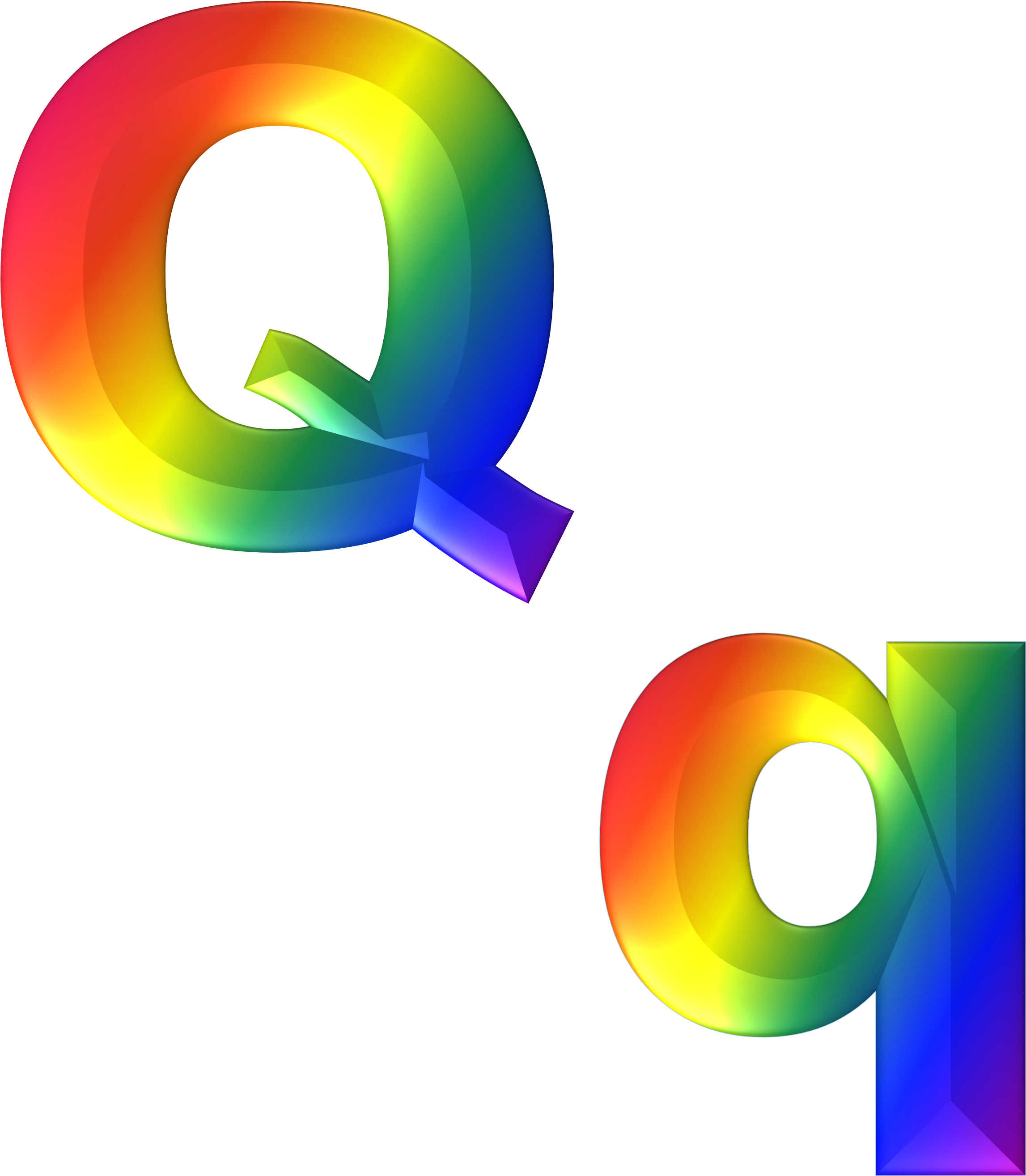 Transparent letter clipart - Colorful Big And Small Q Letters Of The Alphabet Clipart - 3d Letters I Alphabet Png
