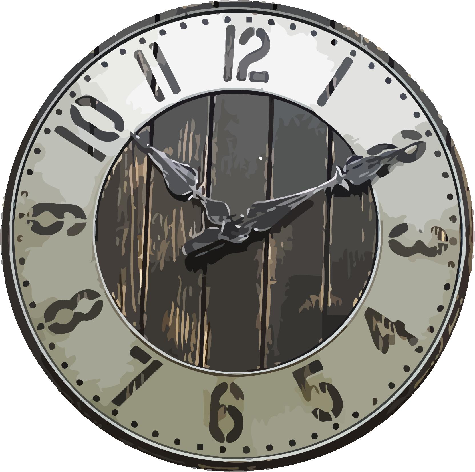 Transparent vintage clock clipart - Rustic Large Farmhouse Wall Clock