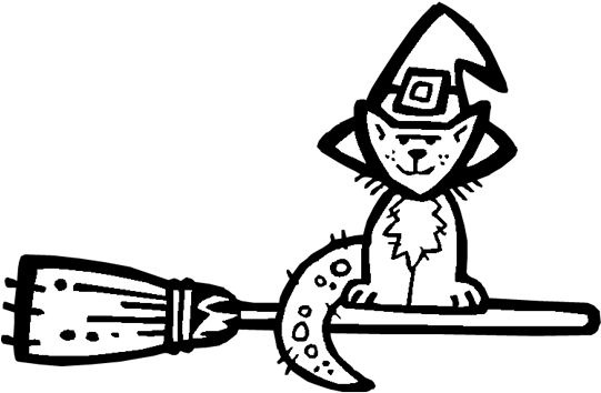 Transparent halloween cat clip art black and white - Halloween Coloring Pages