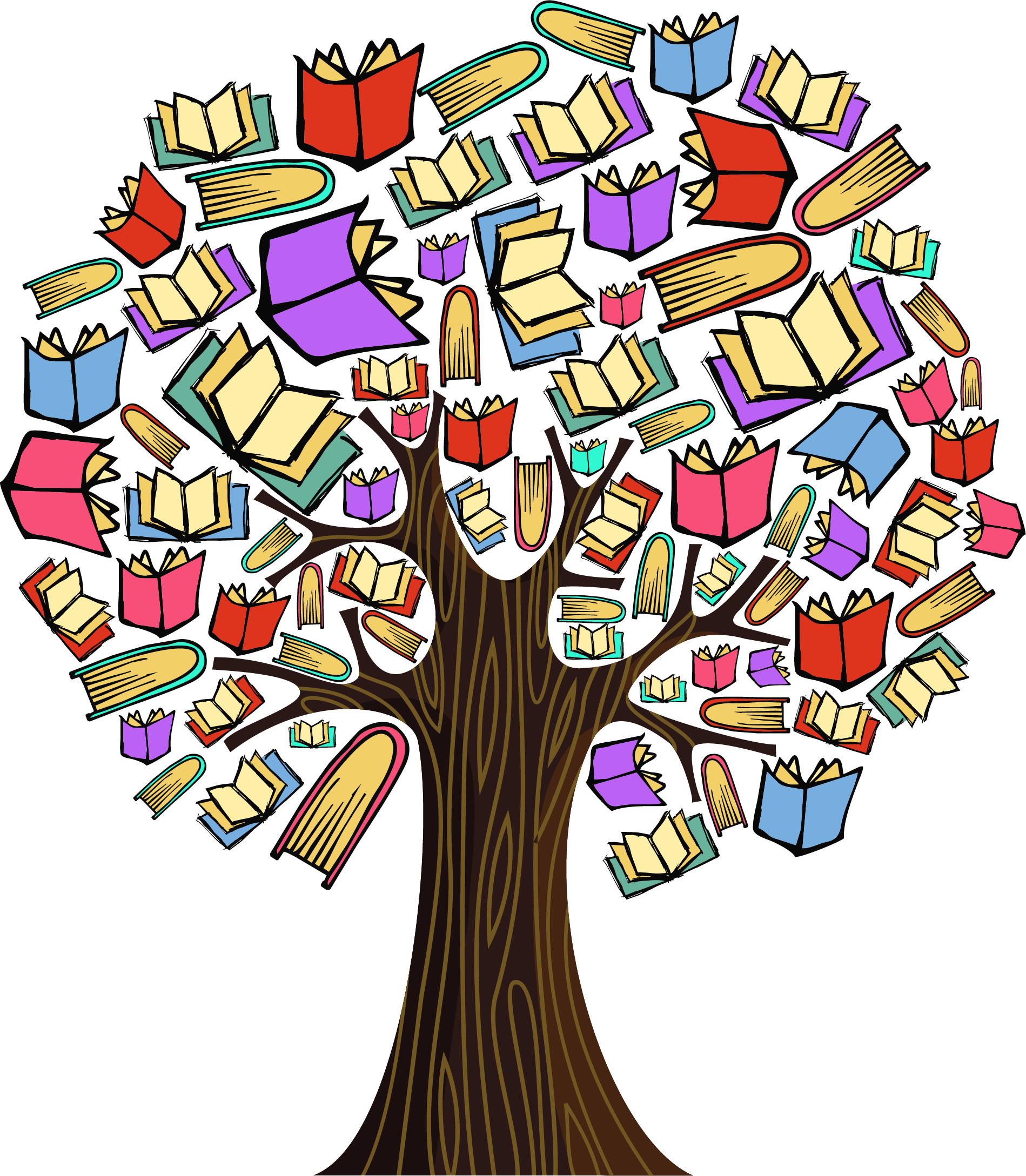 Transparent education clipart - Colourful Book Tree Milk Specialist Ⓒ - Book Tree