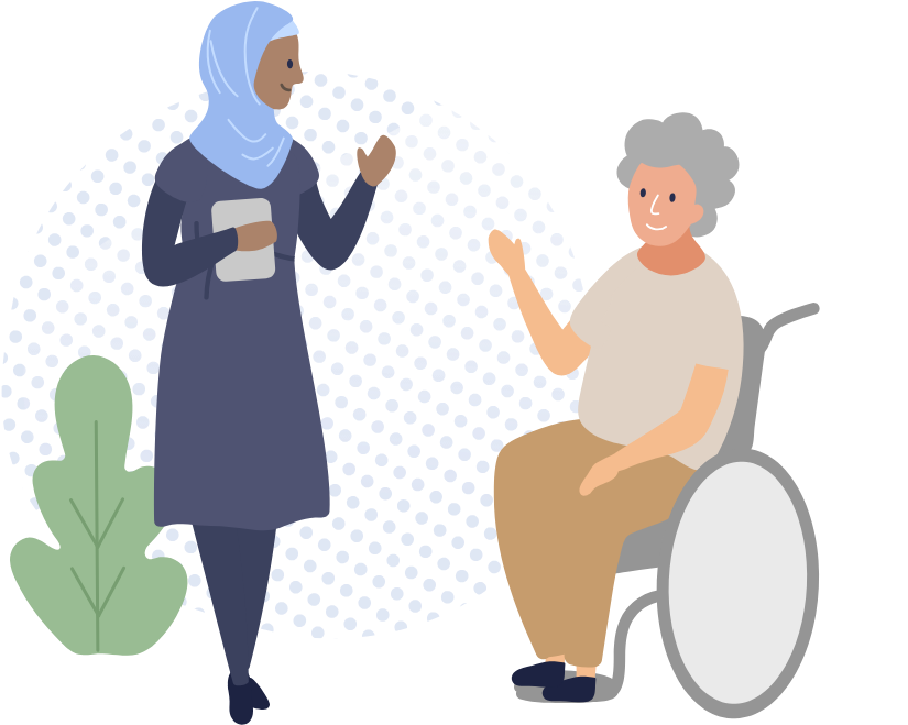 Transparent two women talking clip art - Woman In Wheelchair Talking To Female Assessor - Sitting