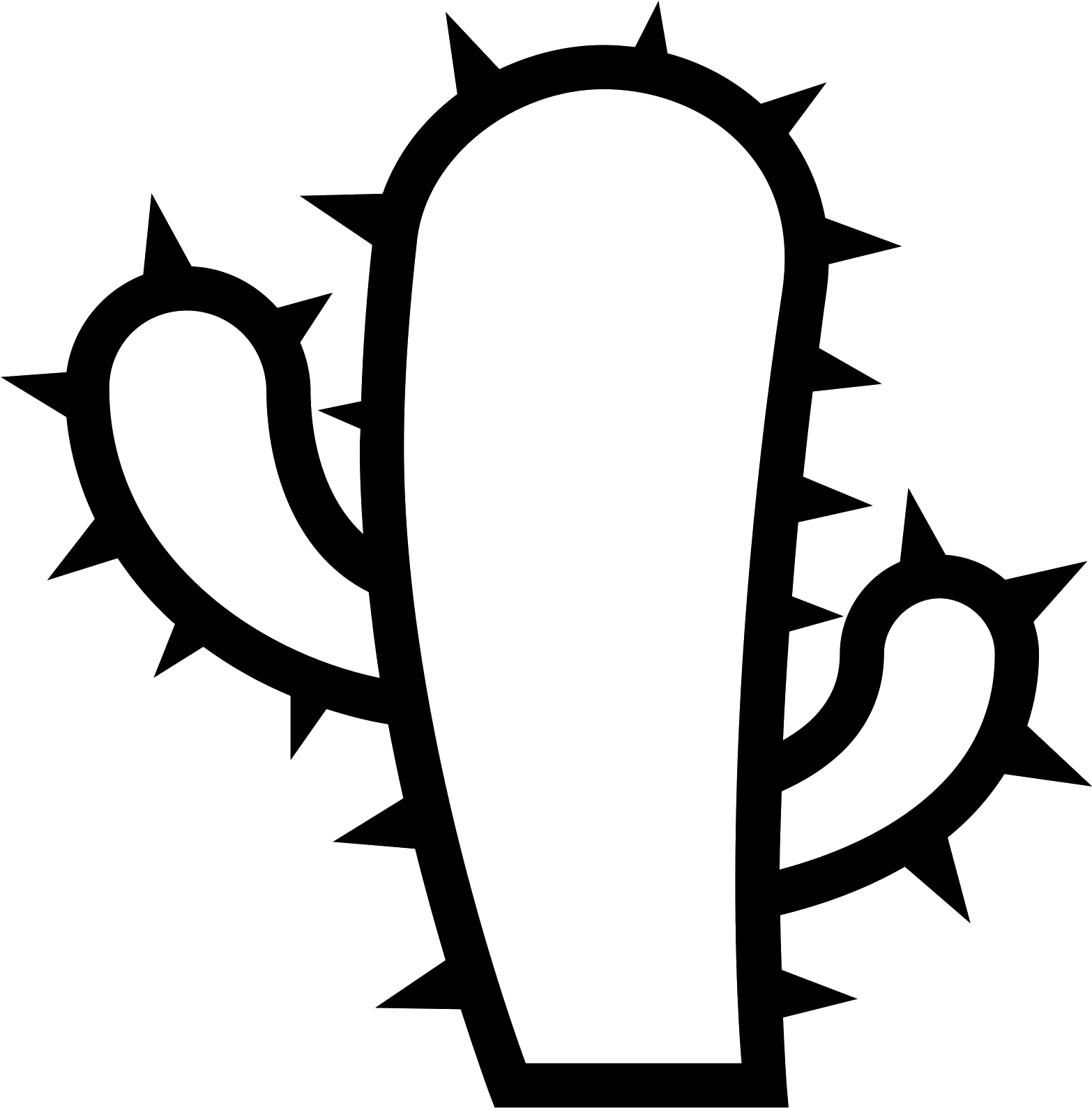 Cactus black. Clipart icon png transparent