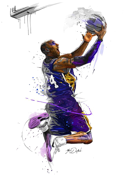 Canvas Basketball Players Lakers Angeles Los Print Kobe Bryant Art Transparent Cartoon Jing Fm