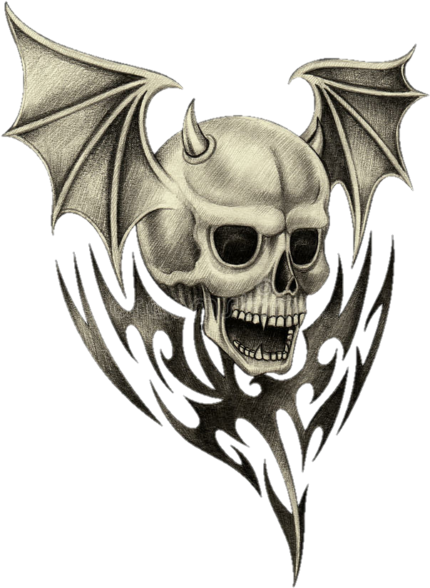 Transparent evil skull clipart - #tattoo #skull #design #wings #evil #cool #idea - Skull W Wings Drawing