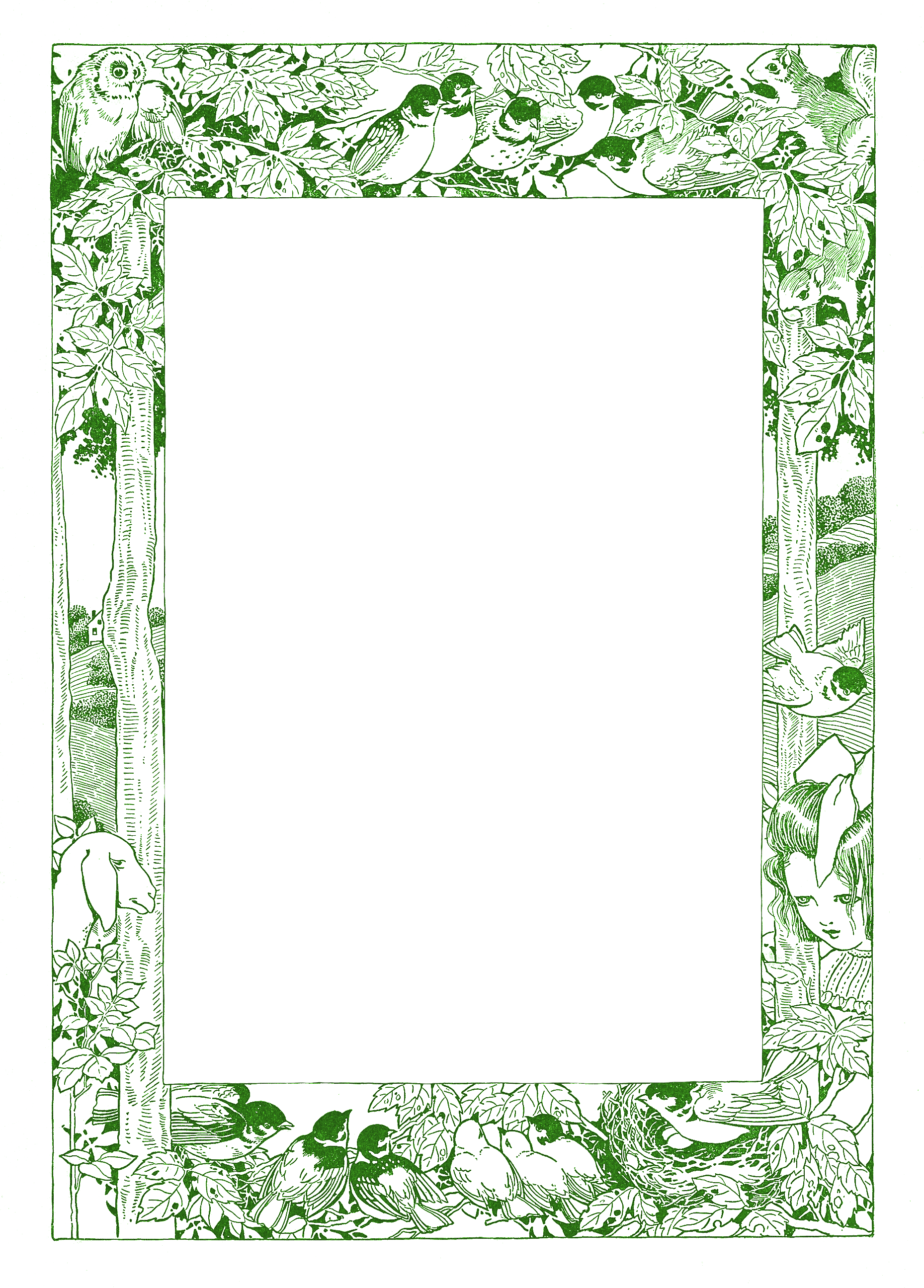 Transparent woodland clipart - Woodland Clipart Free - Transparent Background Vintage Page Frame Clipart