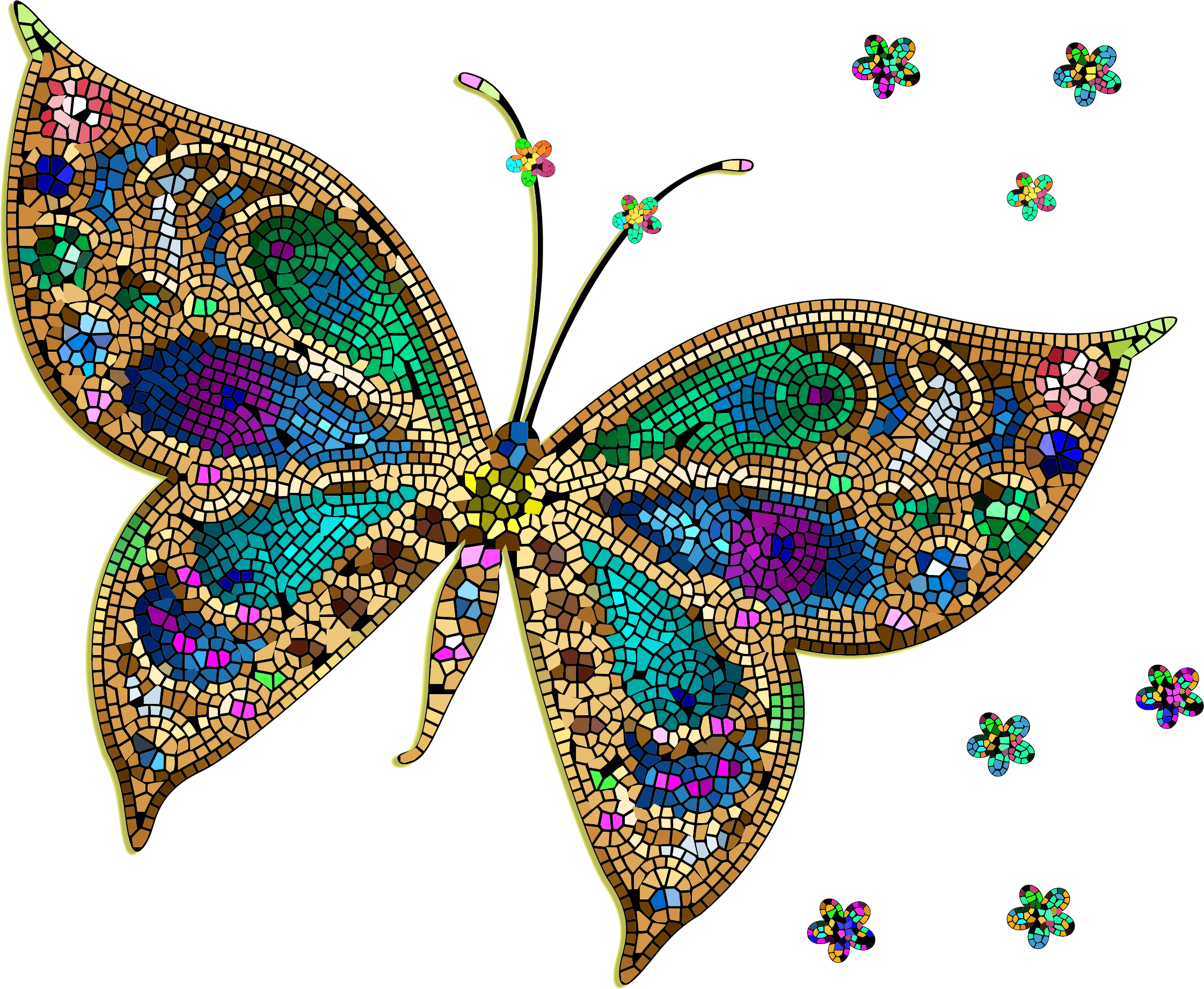 Transparent butterflies clipart colored - Colorful Tiled Icons Png - Colorful Butterfly
