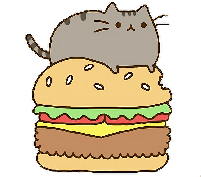 Cat Gato Gatito Kawaii Comer Eat Hamburger Hamburguesa Pusheen On A Hamburger Transparent Cartoon Jing Fm