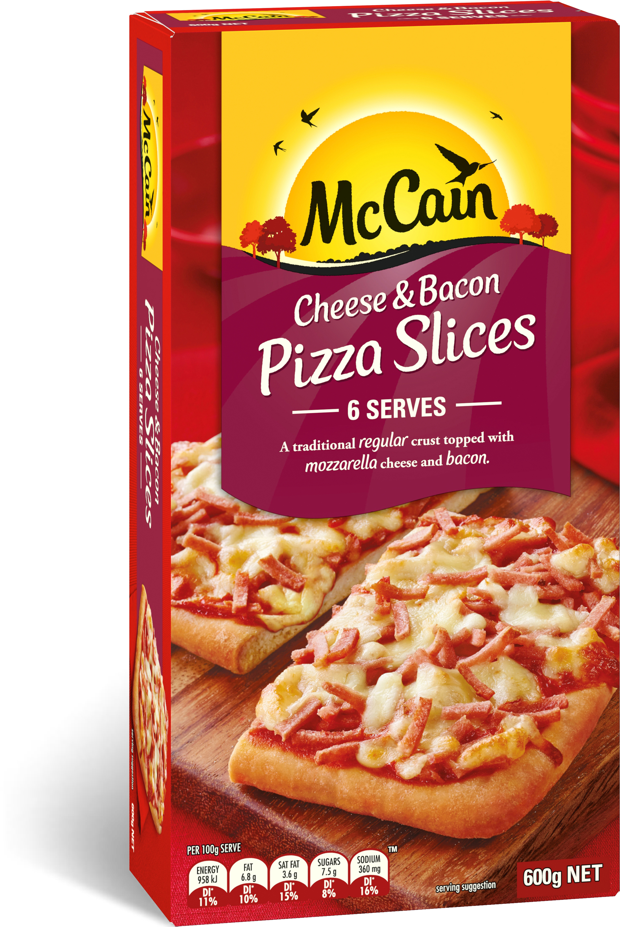 Transparent pizza slice clipart png - Cheese & Bacon Pizza Slices 600g - Mccain Ham And Pineapple Pizza
