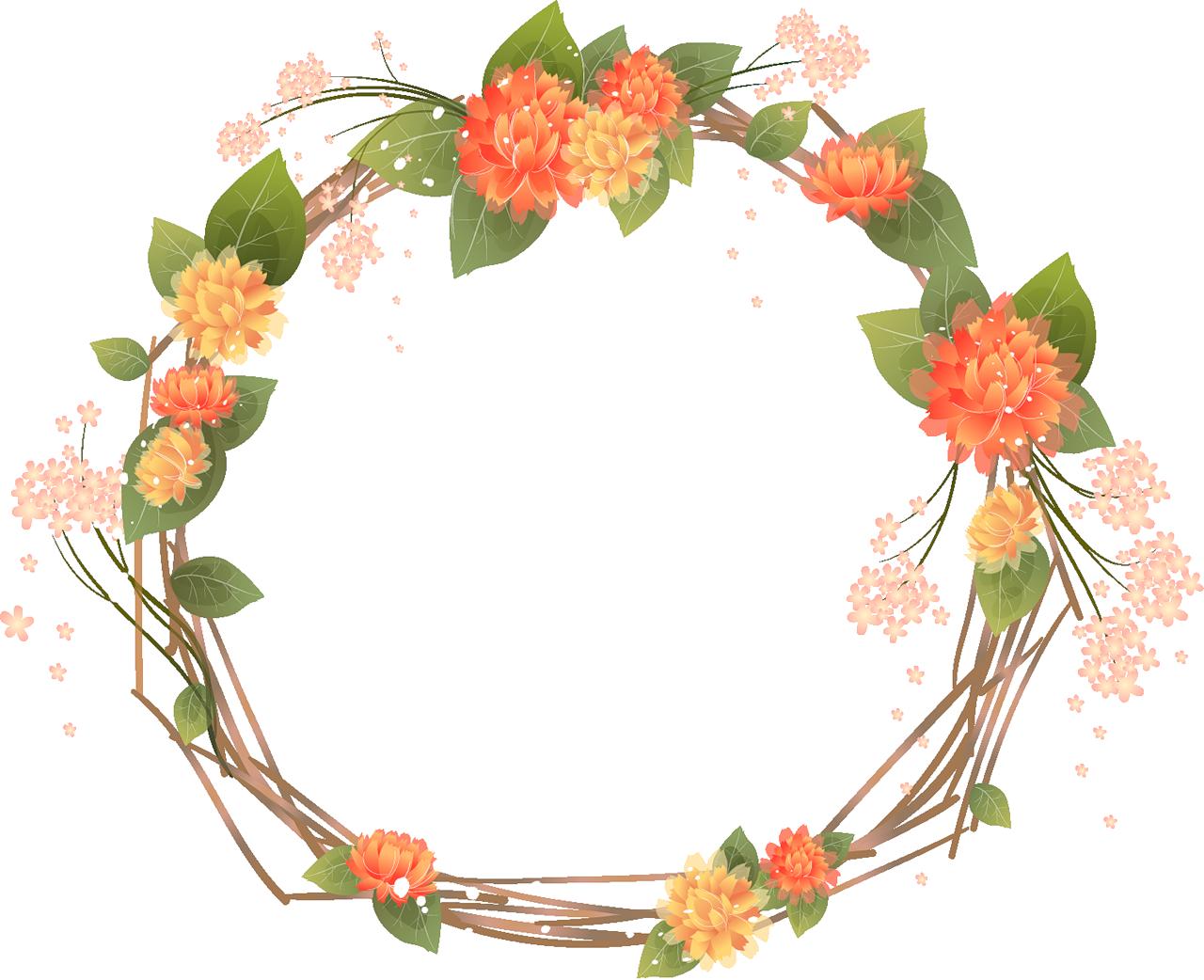 Transparent mexican flower clipart - Orange Flower Clipart Frame - Floral Frame Png Transparente