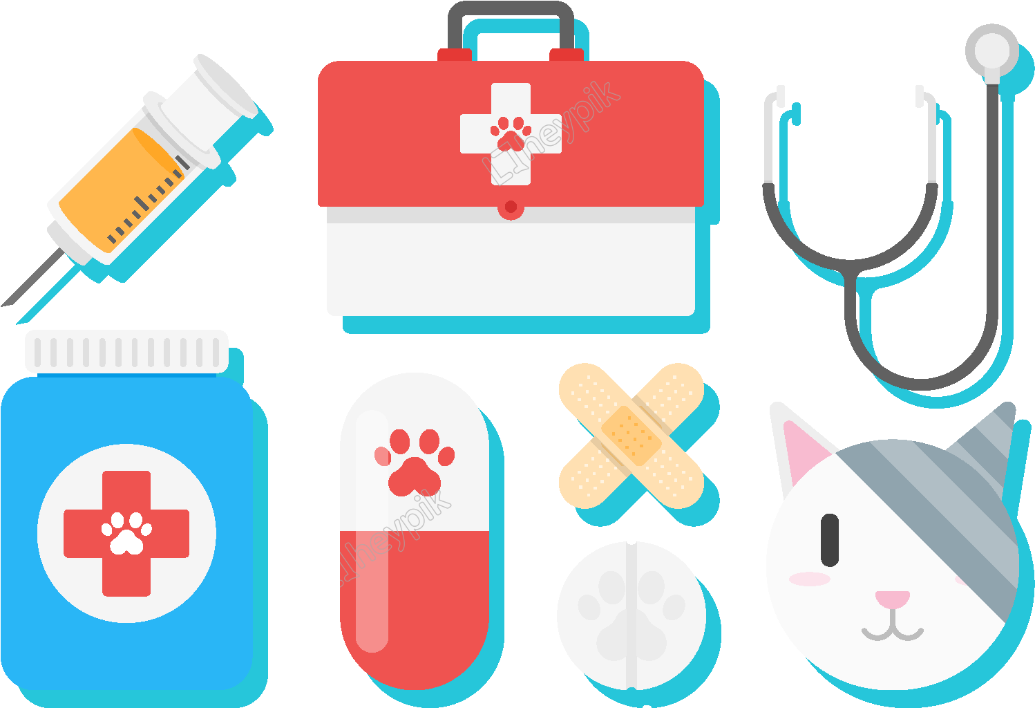 Vet And Sick Animals At Pet House Illustration Royalty Free Cliparts,  Vectors, And Stock Illustration. Image 74386729.
