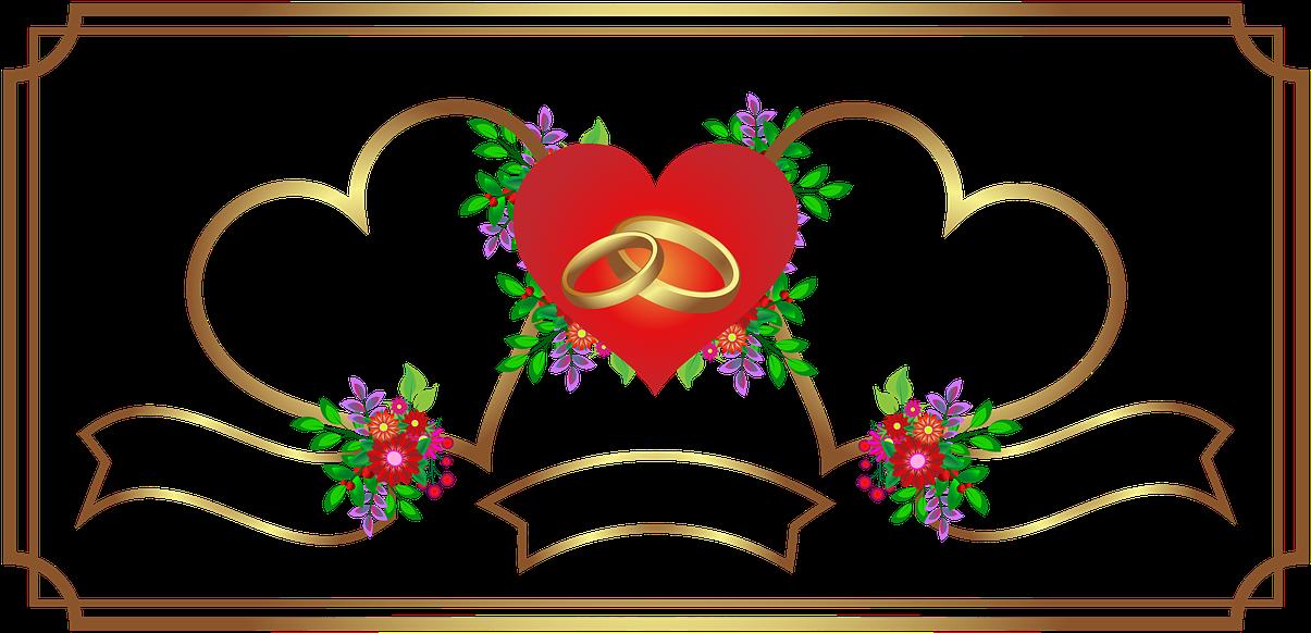 Vacation, Invitation, Wedding, Heart, Gold - Simple Frame
