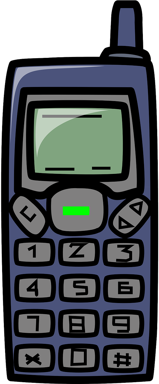 Transparent cell phone clip art - Cell Phone Clipart - Old Cell Phone Cartoon
