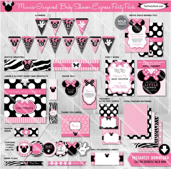 photo relating to Printable Baby Shower Decorations named Obtain Minnie Mouse Child Shower Decorations Clipart