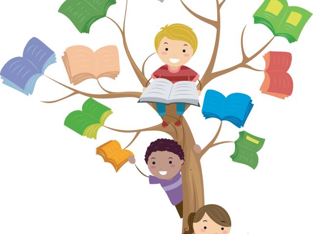 Transparent kids helping other kids clipart - Kids Learning Clipart - Clip Art Reading Books