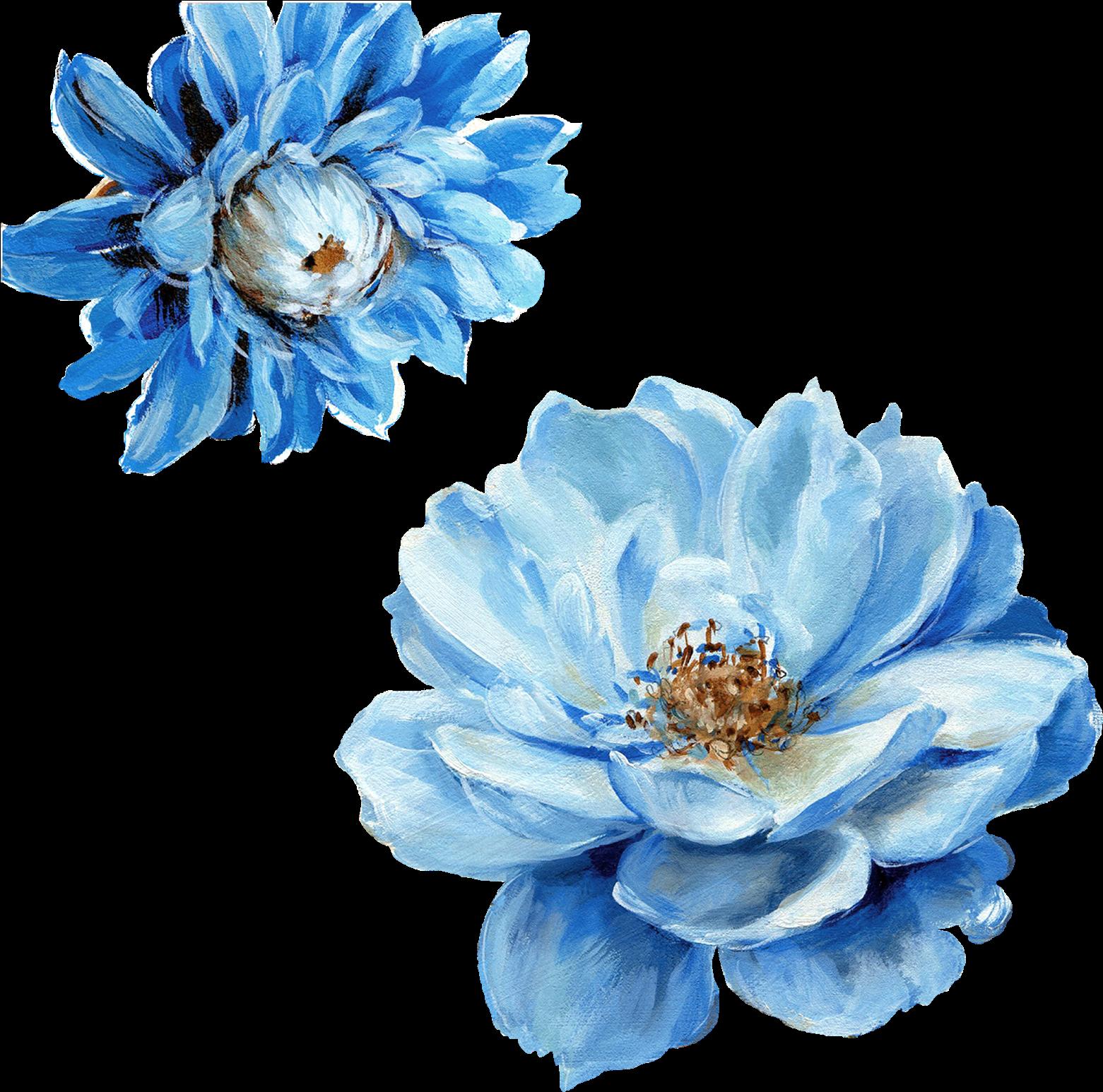 Png Blue Flowers Blue Watercolour Flowers Png