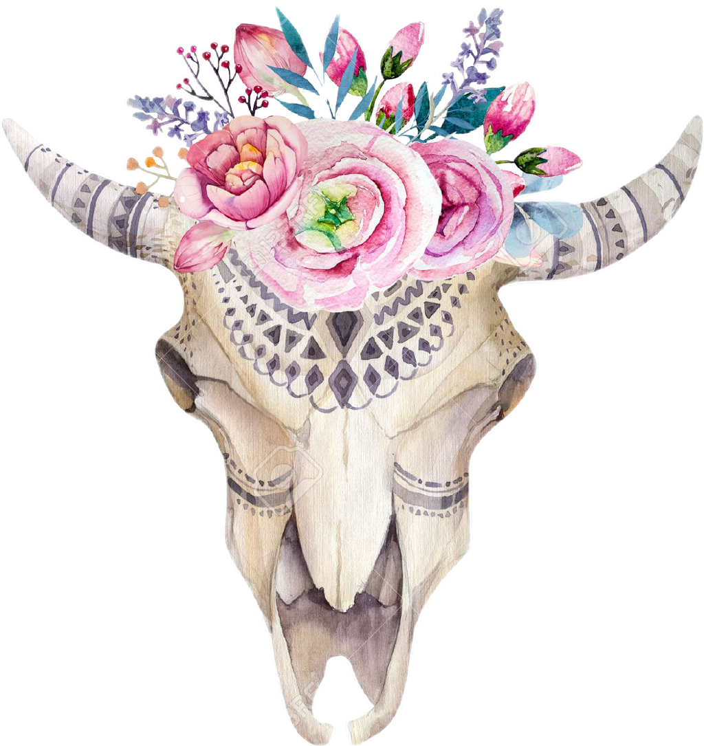 Transparent bull head clipart - #paint #flowers #floral #watercolor #watercolour #bullhead - Floral Cow Skull
