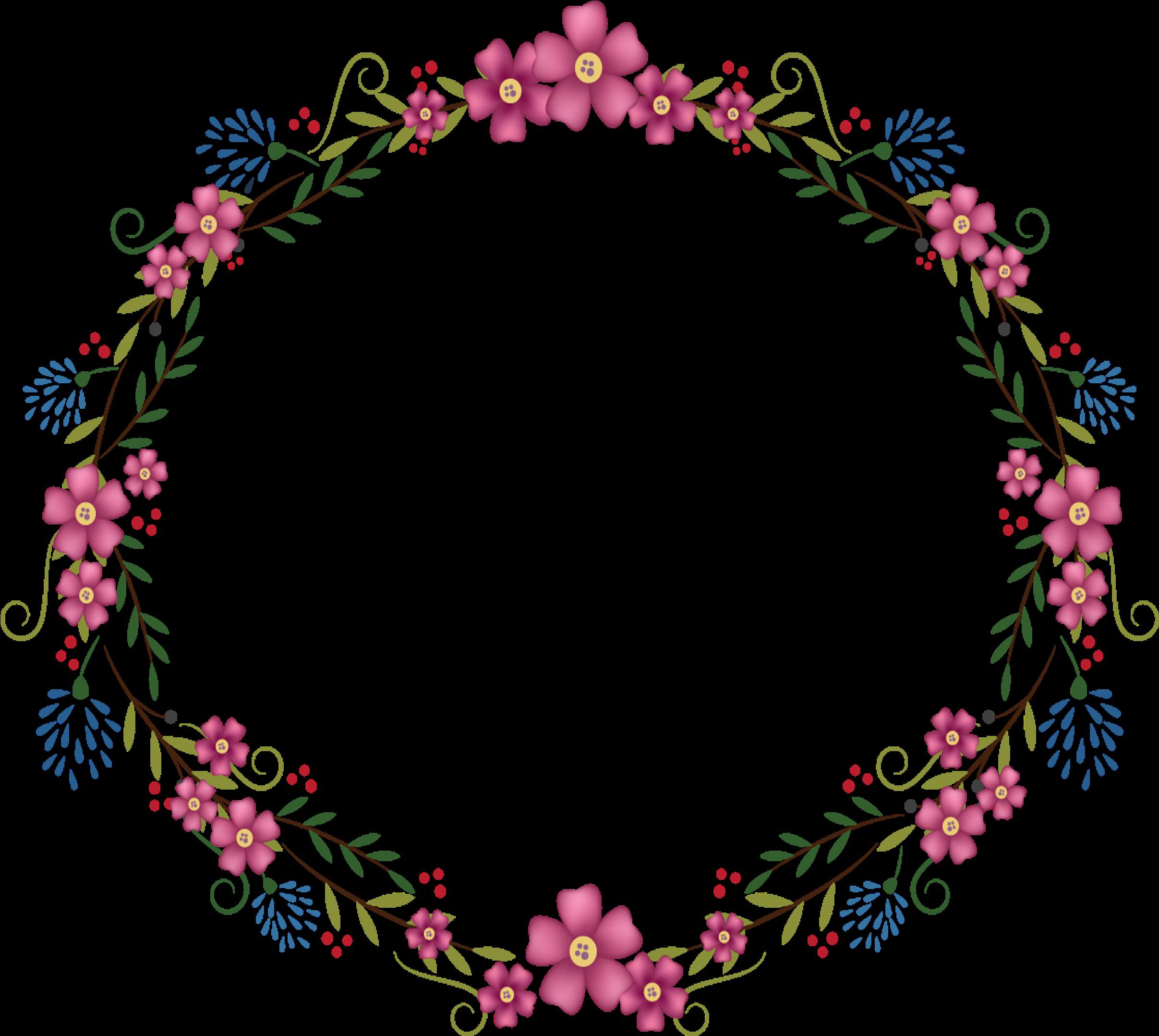 Transparent floral frame clipart - Flowers Round Frame 2835 2835 Transp Png Free Pink - Transparent Background Floral Frame