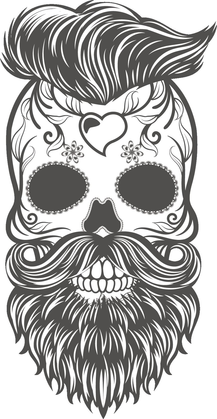 Transparent sugar skull clipart black and white - And Skull Painted Calavera Sticker Hand Vector Clipart - Beard Skull Vector Png