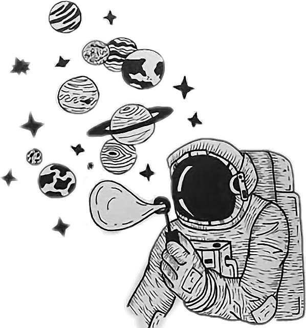 Galaxy astronaut. Planets universe space drawings