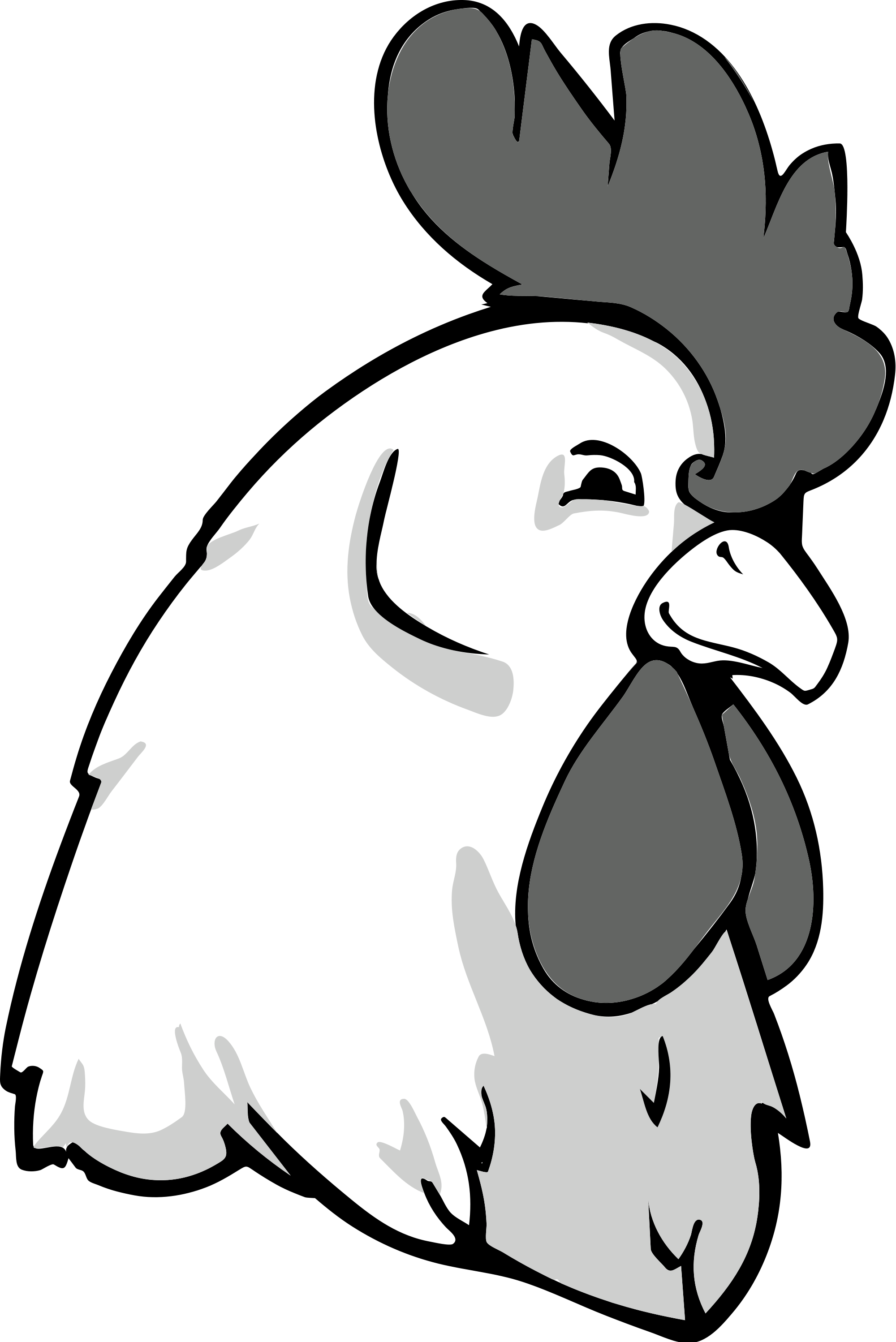 Transparent hen clipart black and white - Rooster Bw - Chicken Head Vector Png