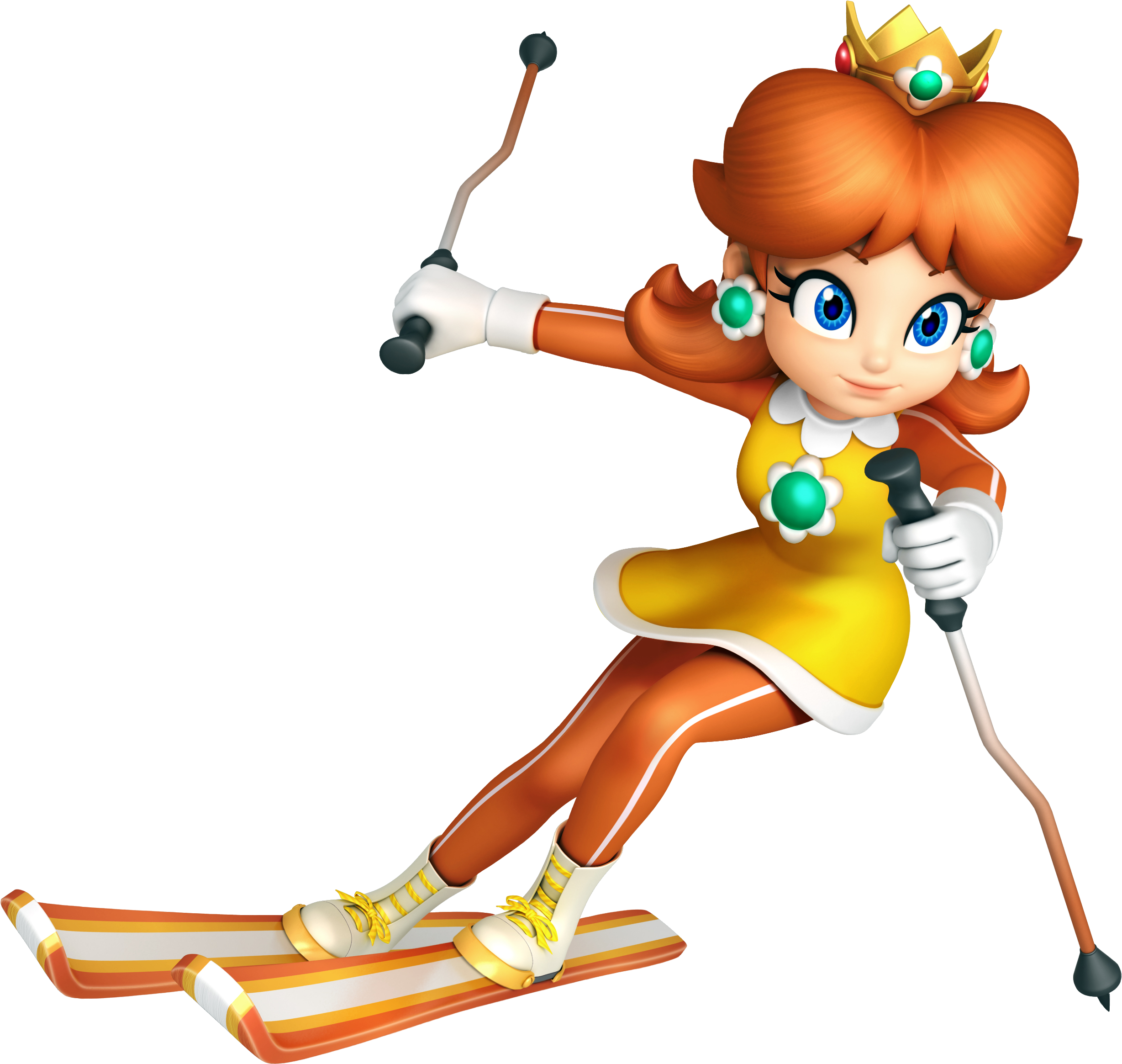 Transparent skiing clipart - Princess Daisy Skiing By Daisy4eva On Clipart Library - Mario And Sonic At The Olympic Winter Games Daisy