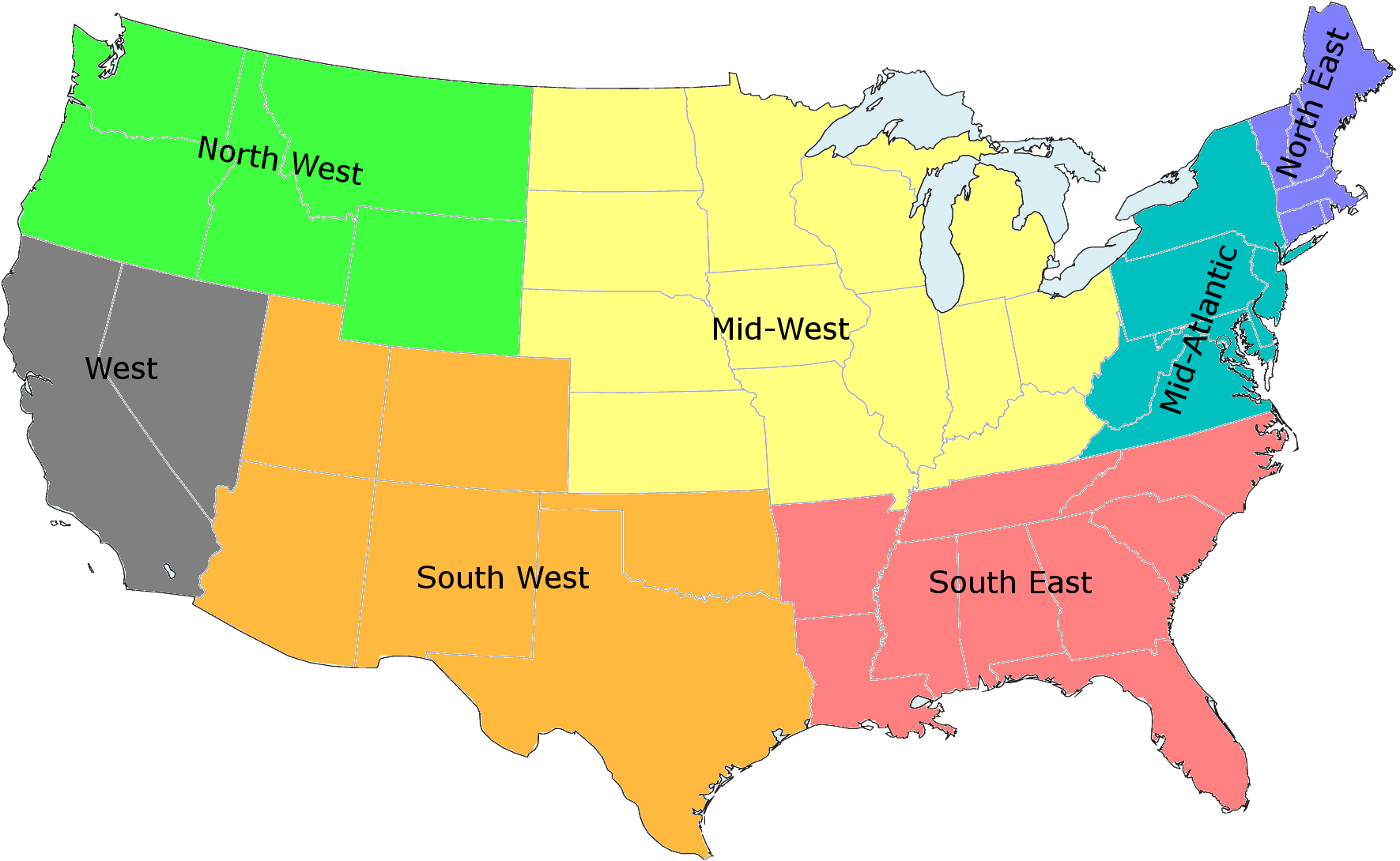 United States Region Map - Us Map Regions Labeled ...