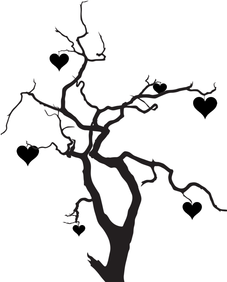 Transparent tree silhouette clipart - Clipart Heart Tree - Tree Love Silhouette Png